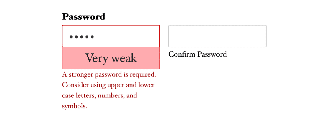 Enable password strength and confirmation