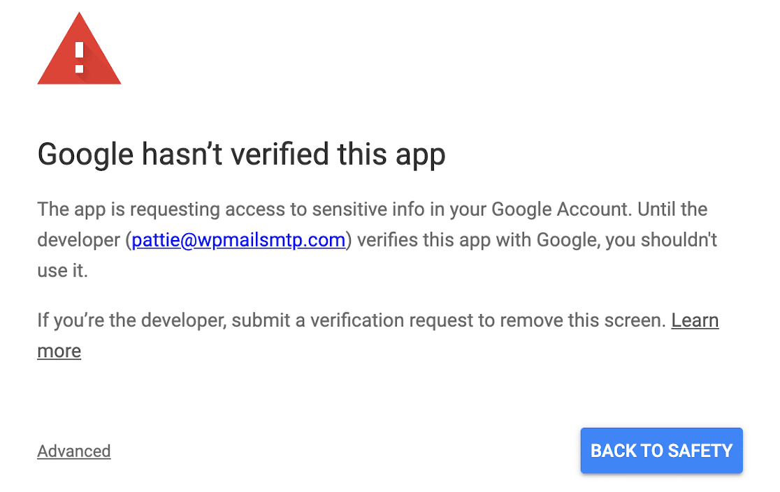 OAuth Gmail not verified