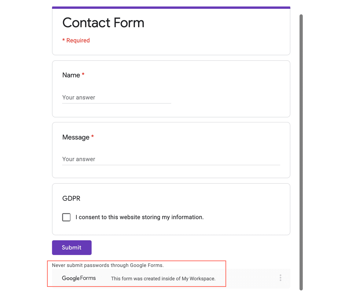 Google Forms embedded in WordPress