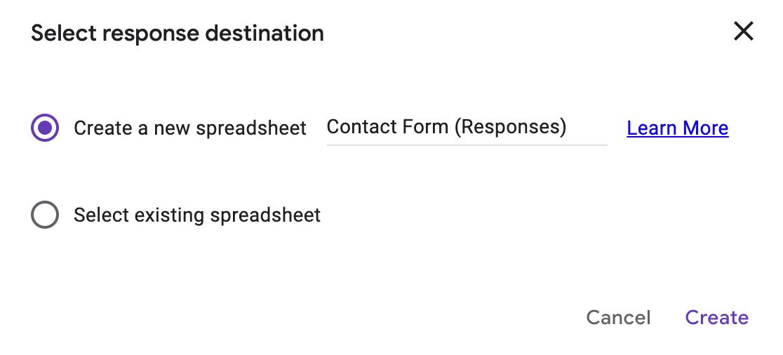 Google Forms spreadsheet