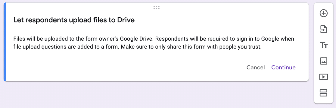 Google Forms file upload privacy notice