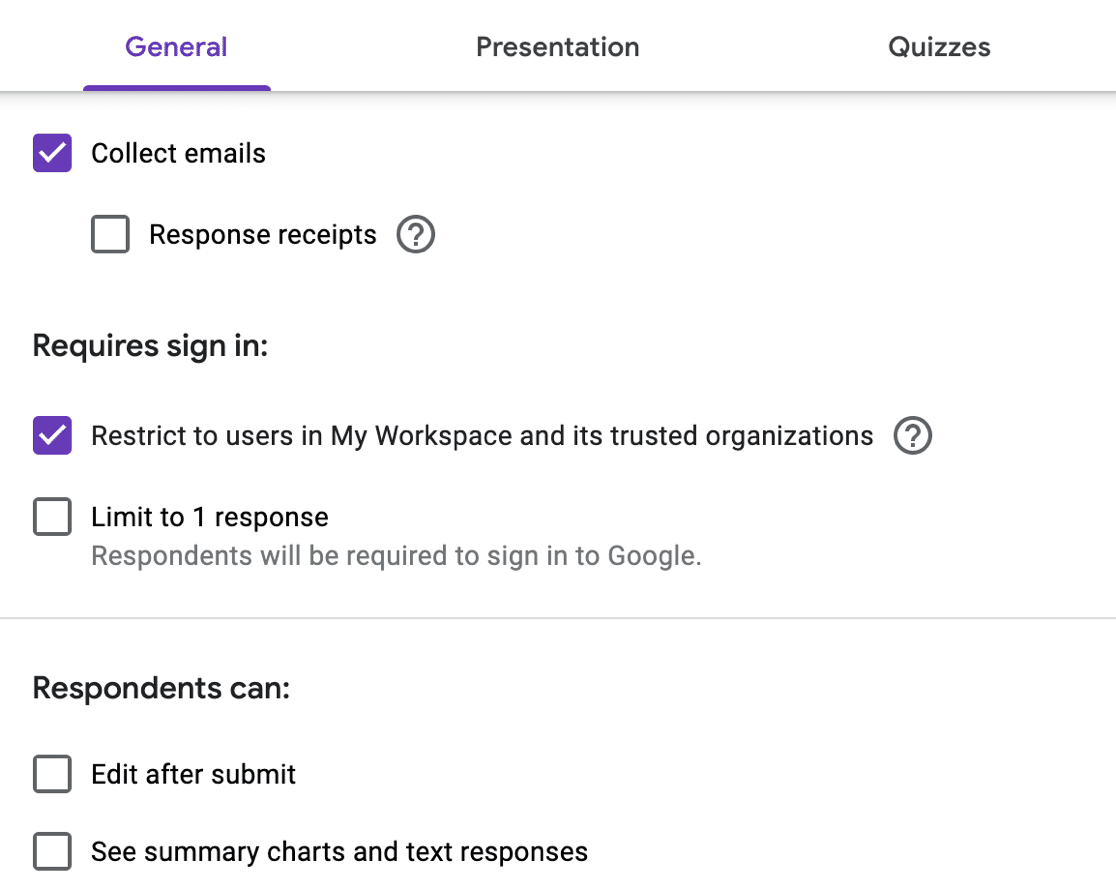 Google Forms privacy settings