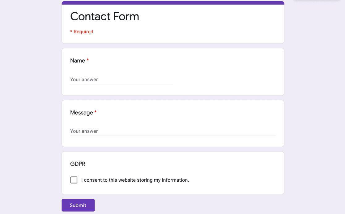 Google Forms finished form