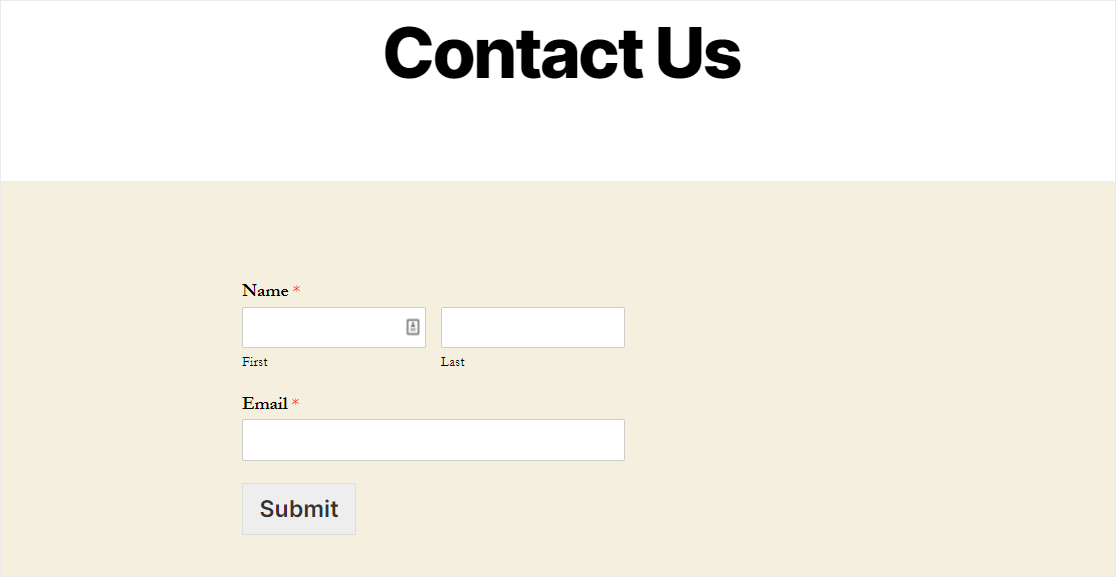 sendinblue form embedded into contact page on wordpress using wpforms