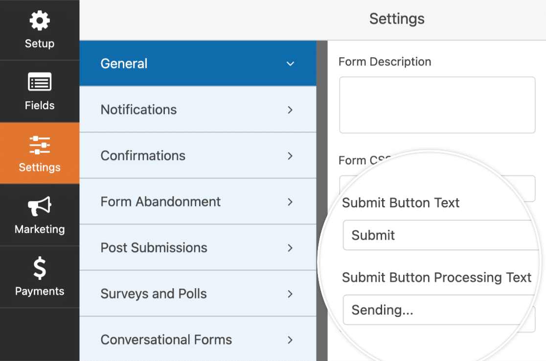 submit button settings