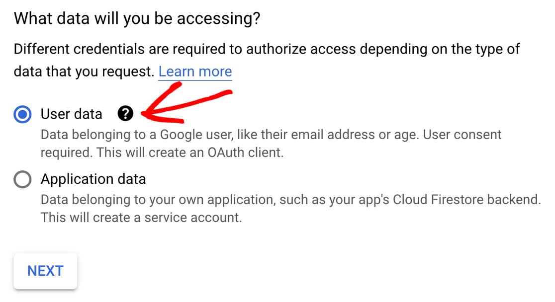 Create credentials screen