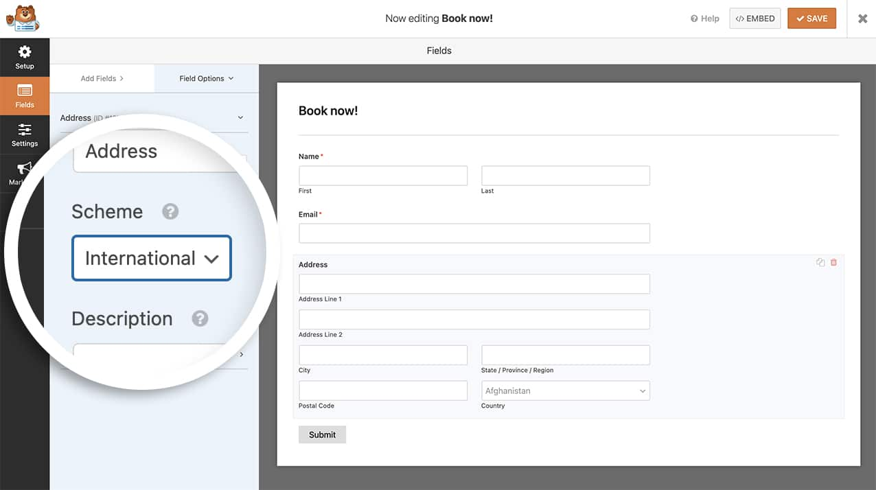 With the snippet added, you'll now have the address default scheme set to Interational