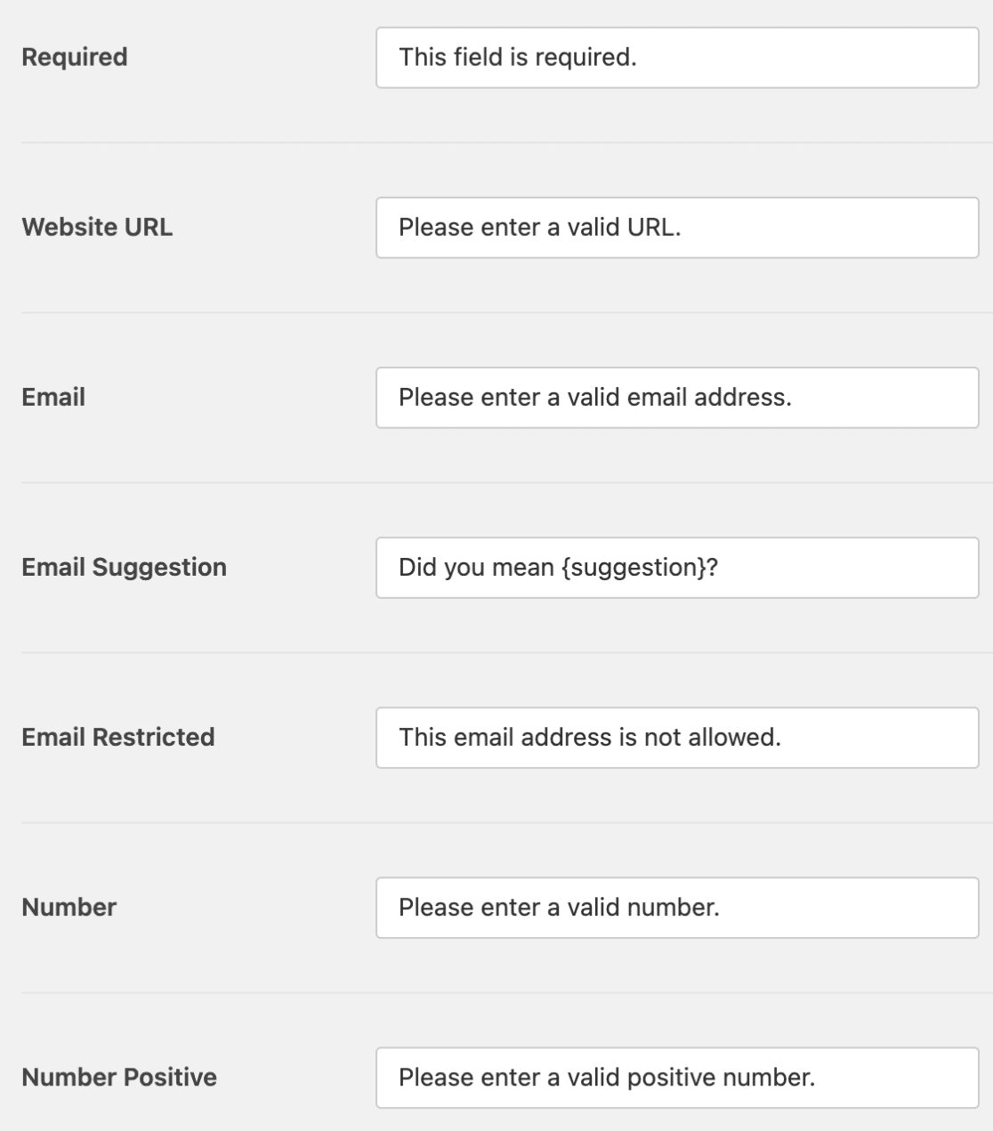 Validation messages settings