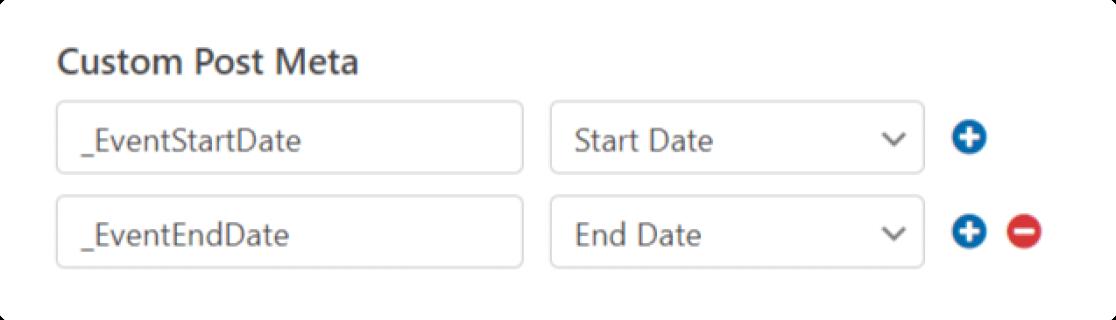 The Events Calendar custom post meta