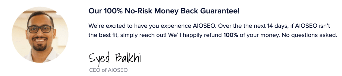 All in One SEO money-back guarantee