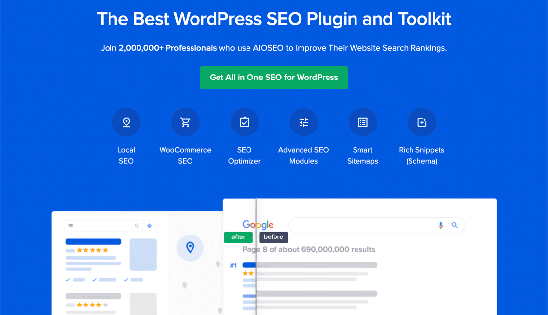 All in One SEO review: home page