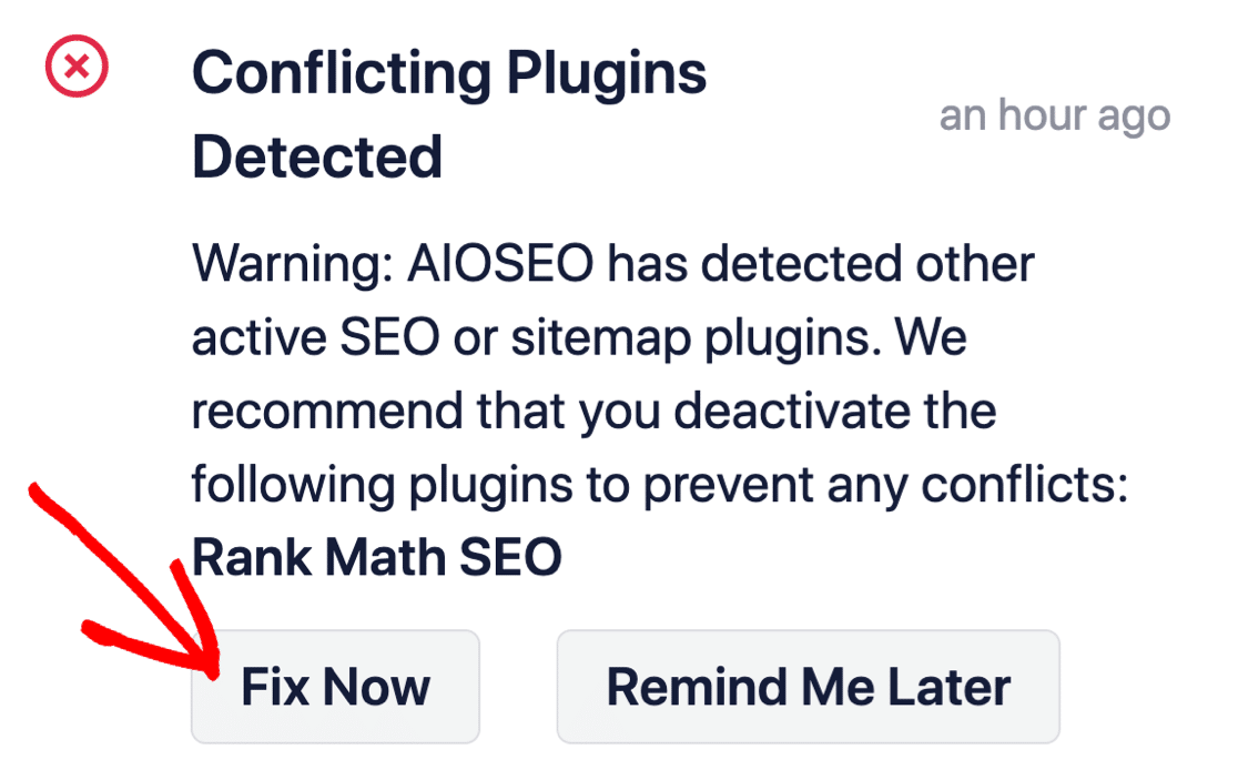 Conflicting SEO plugin found by AIOSEO