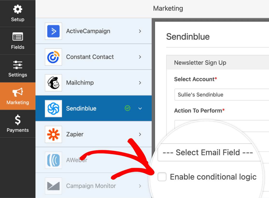 Enable conditional logic for Sendinblue addon in WPForms