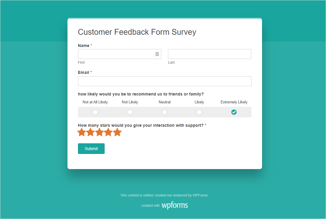 feedback form questions to ask on customer surveys in wordpress