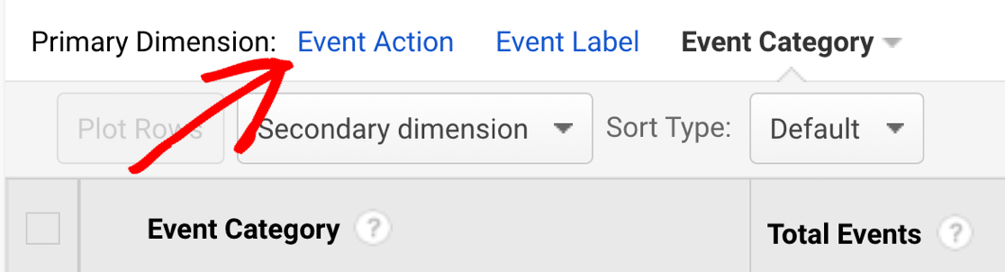 Change primary dimension to event action