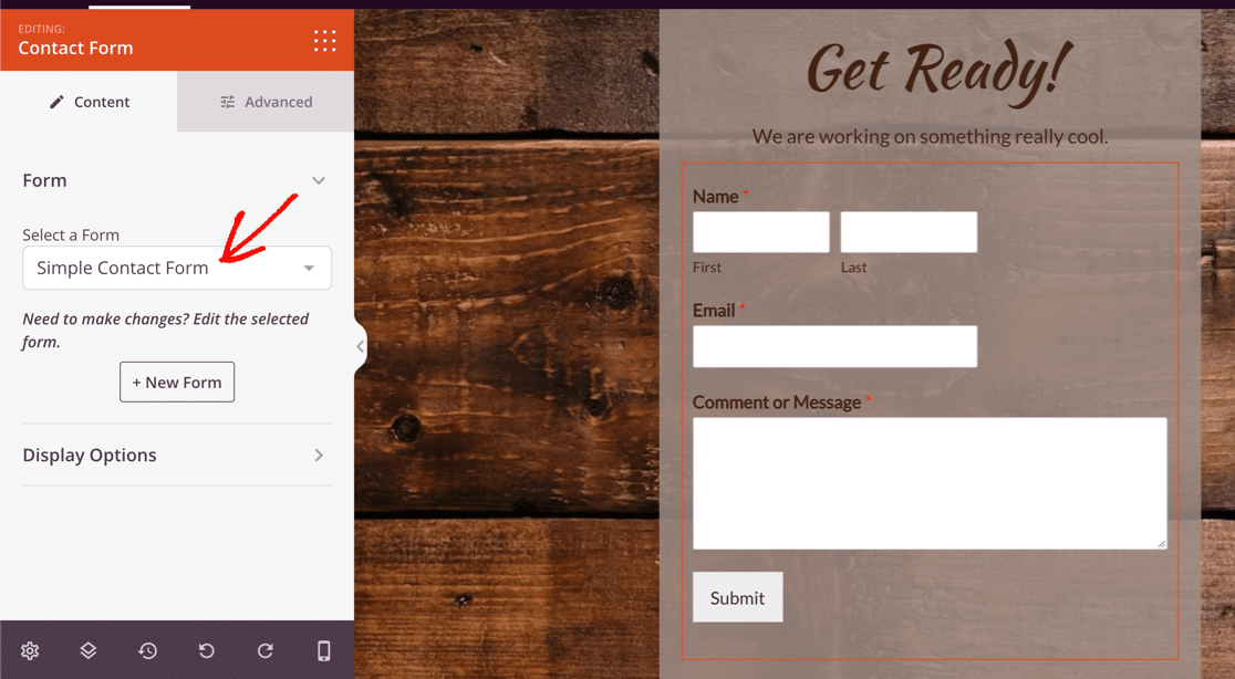Select contact form in SeedProd