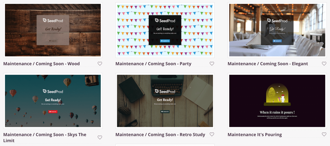 SeedProd maintenance mode templates
