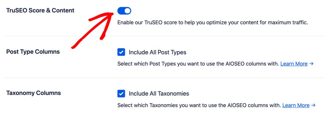 TruSEO settings