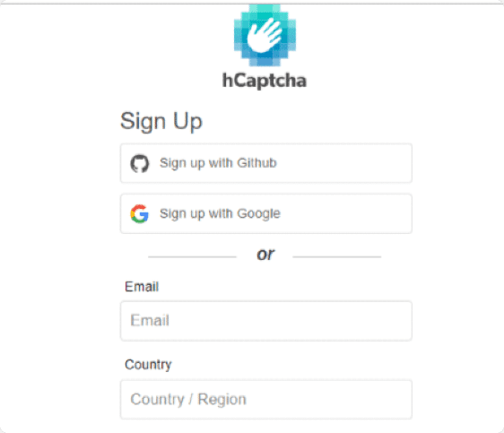 Account sign up options for hCaptcha