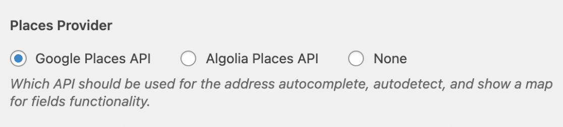 Choose a places provider for Geolocation