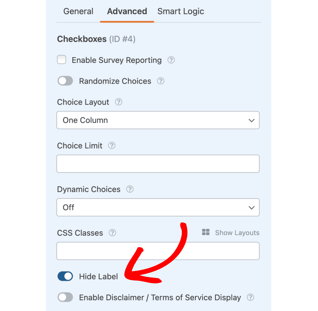 Hide label for checkboxes field
