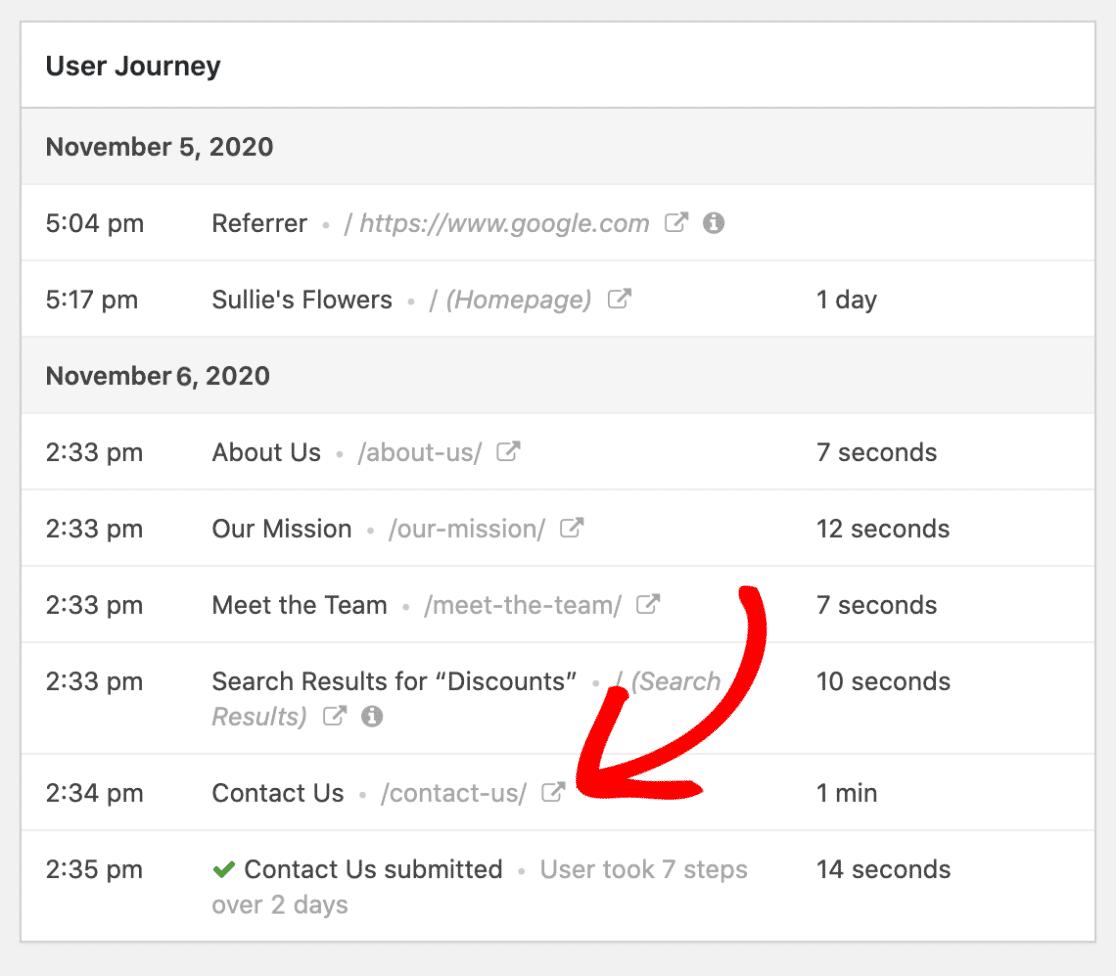 more details of user's journey