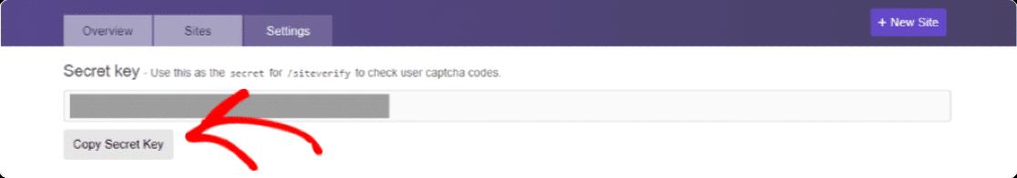 Secret key of hCaptcha account