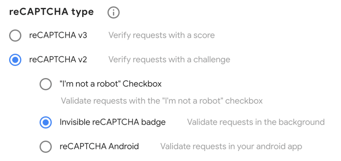 Select reCAPTCHA type to use