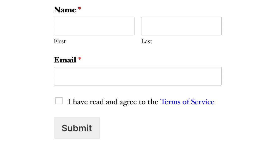 Sign up form with terms of service agreement