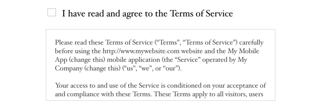Terms of Service frontend example