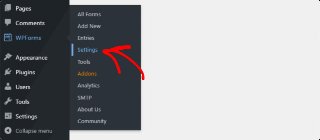 WPForms Settings Tab