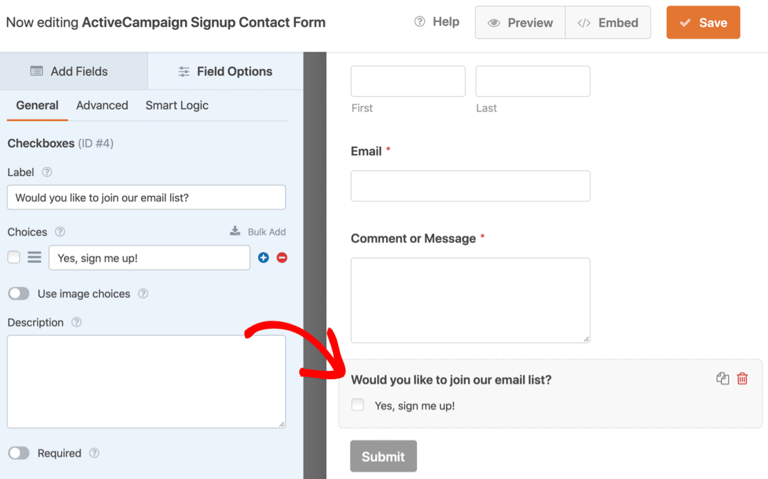 ActiveCampaign form template in WPForms