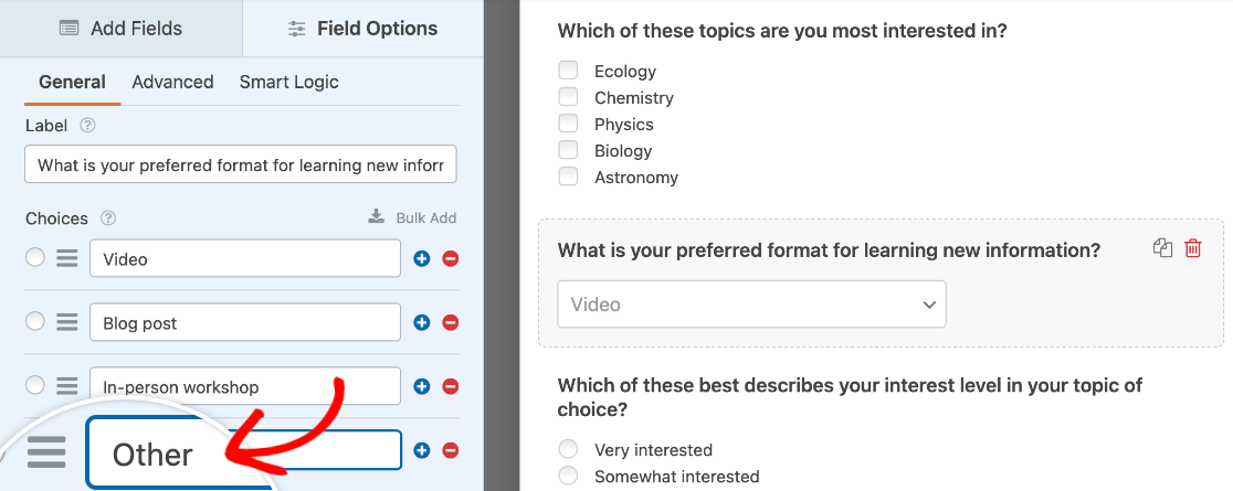 """Adding an """"Other"""" option to a Dropdown field"""