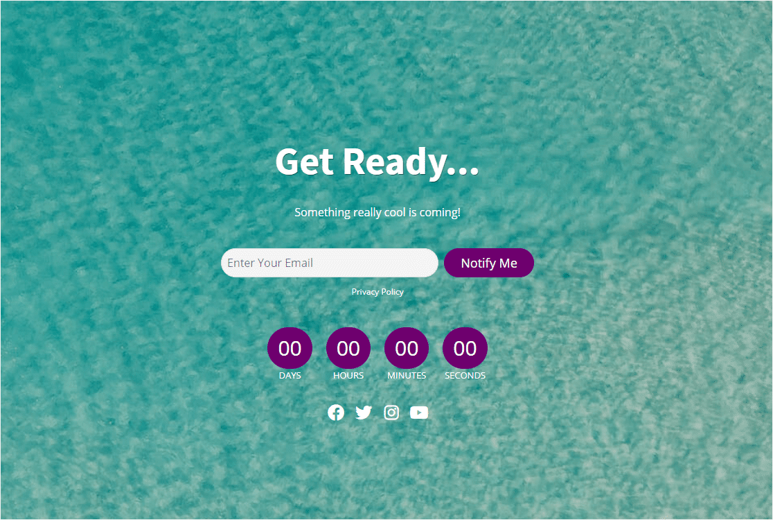 coming soon page example with countdown timer