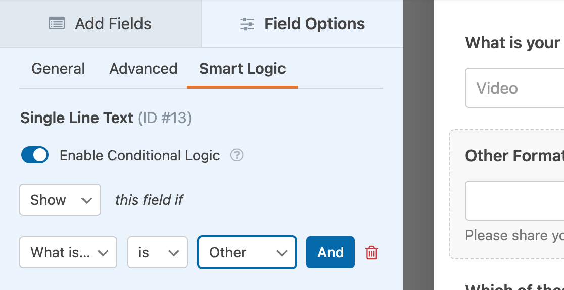 """Setting up a conditional logic rule to show the """"Other"""" input field if the """"Other"""" option is chosen from the selection field"""