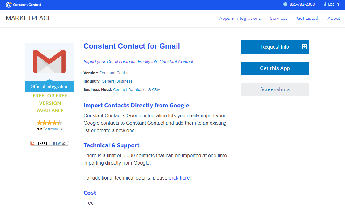 constant contact for gmail wordpress integration