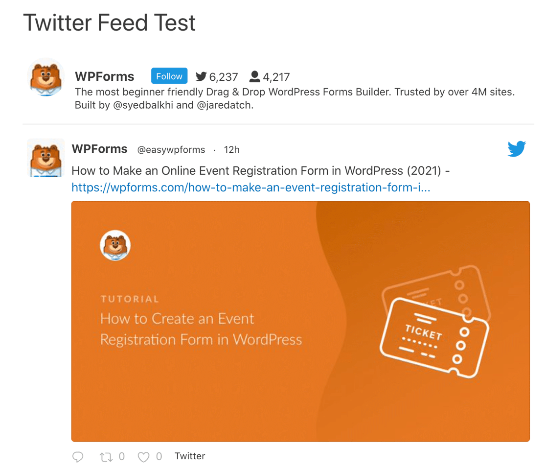 Preview custom Twitter feed