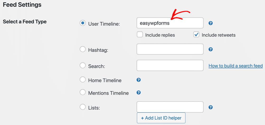 Set username for custom Twitter feed