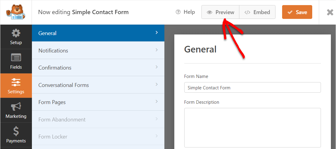form preview button in refresh
