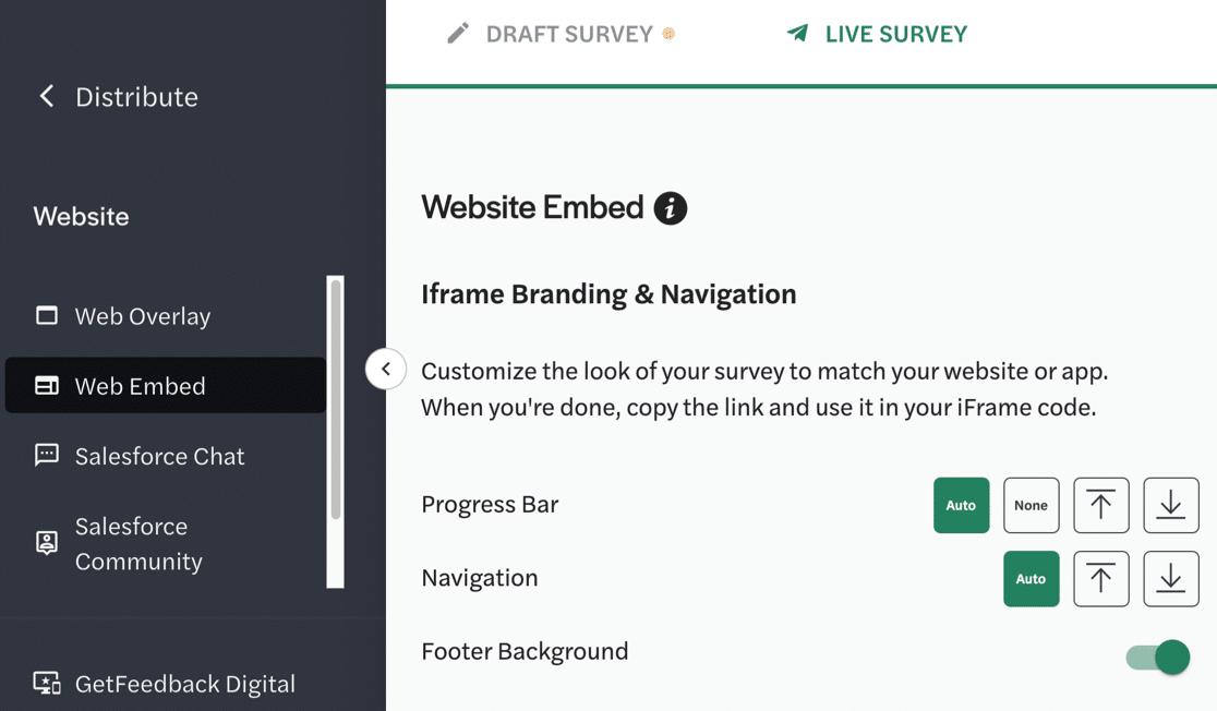 GetFeedback website embed iframe settings