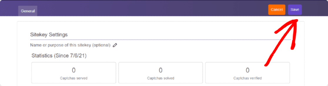 hCaptcha secret key setting page