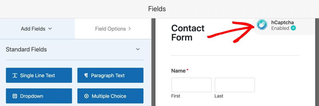enable hCaptcha in WordPress form