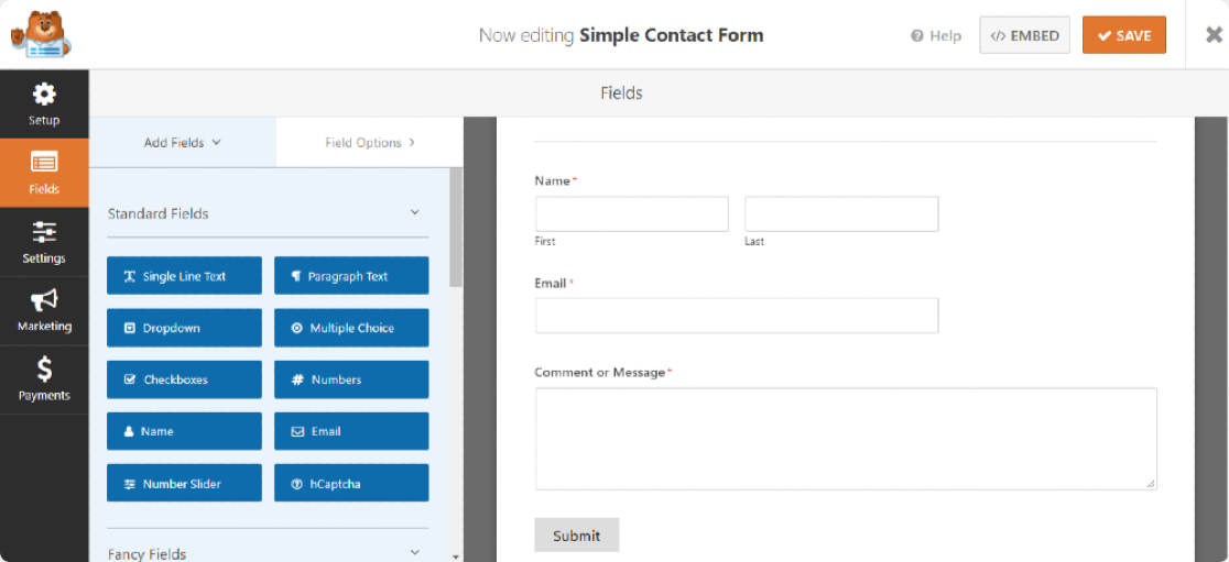 overview of simple contact form template