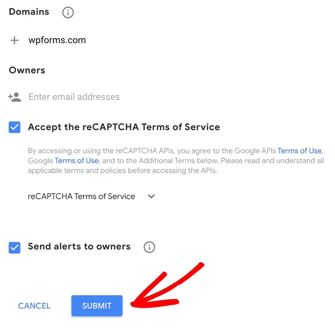 Submit reCAPTCHA registration form
