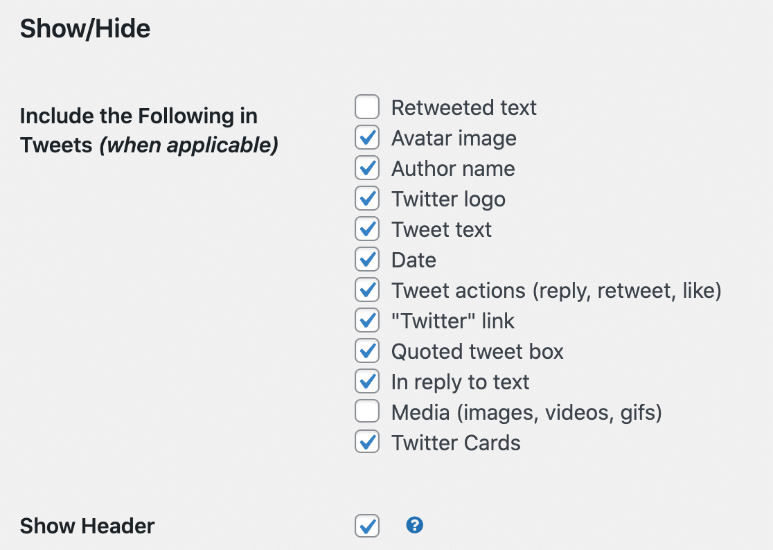 Show or hide parts of your custom Twitter feed