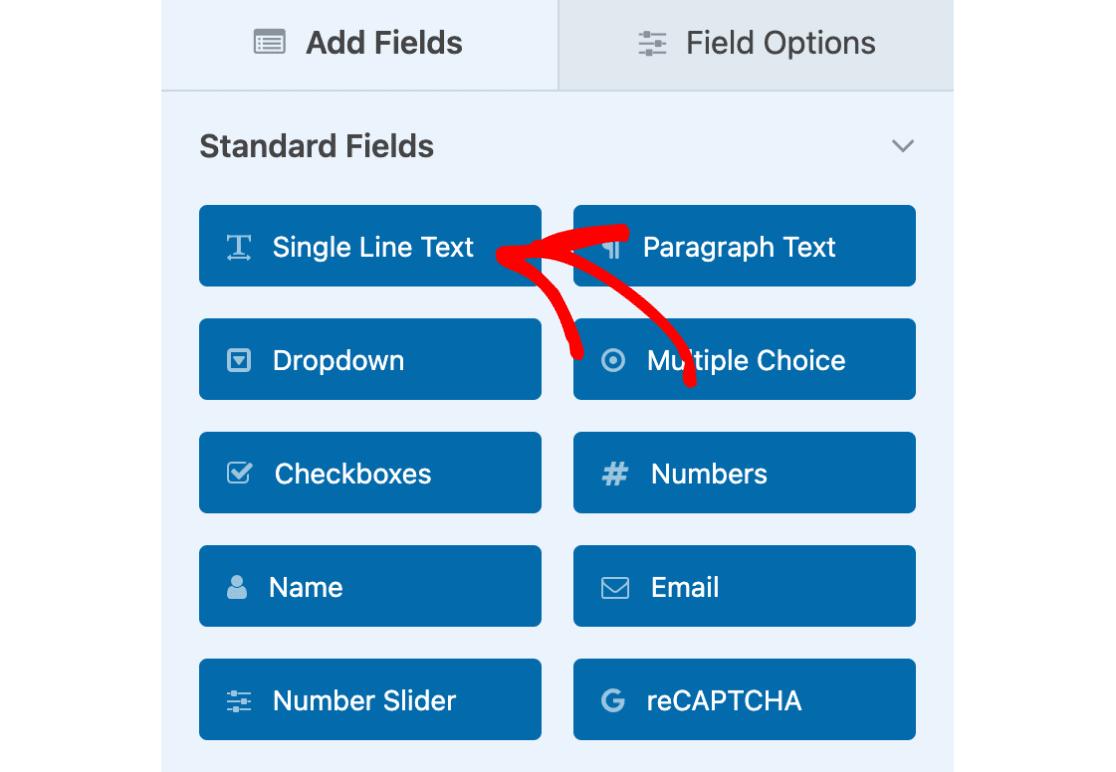 Single Line Text field