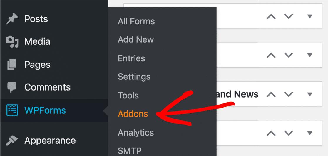 addons option of WPForms