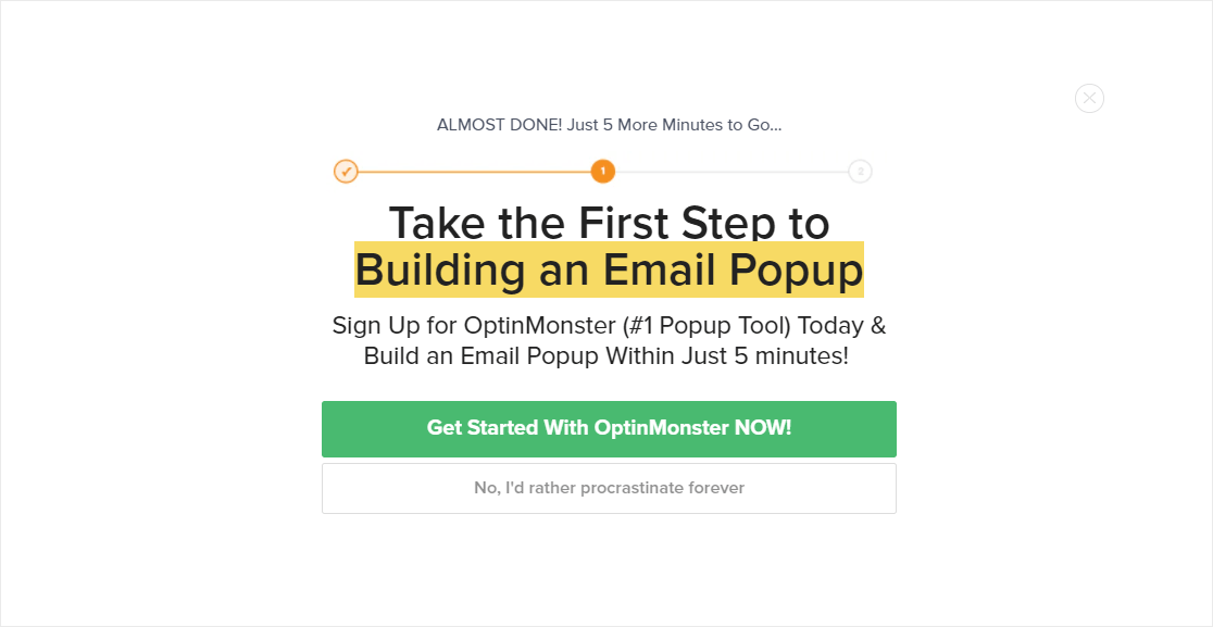 2 step popup example