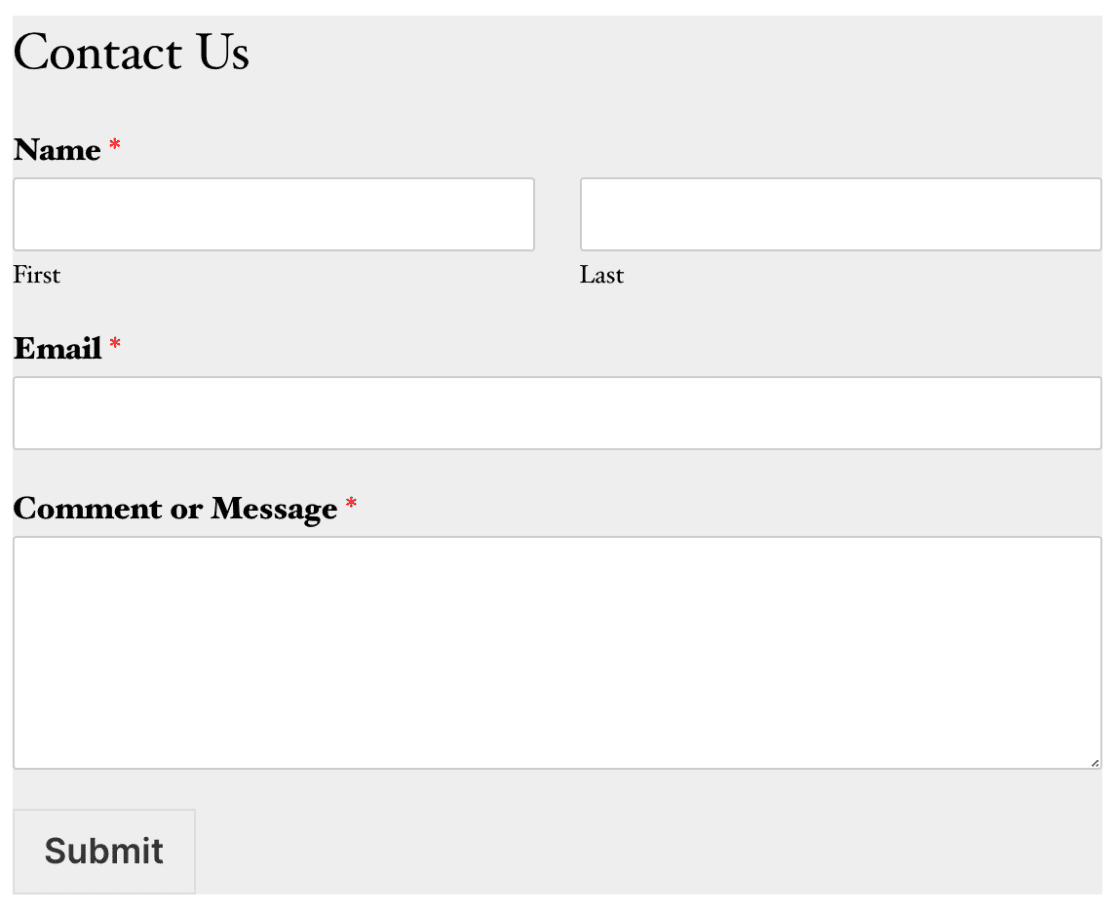 CSS Example - make form background grey