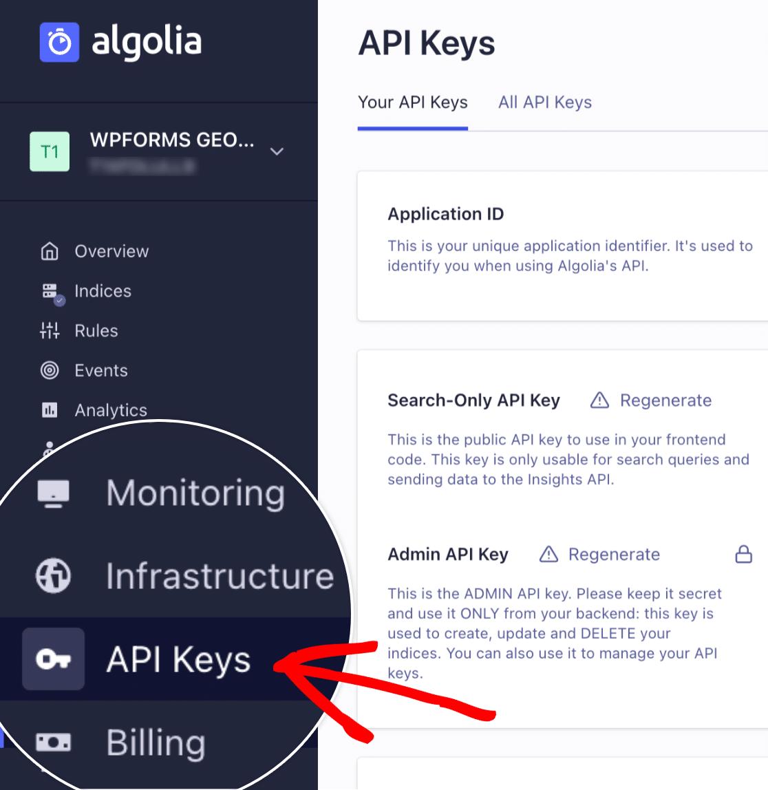 Open API keys in Algolia